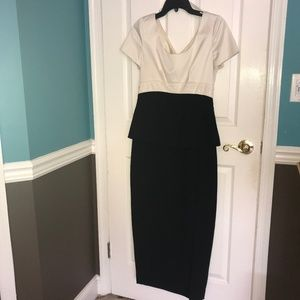 Peplum Ivory & Black Evening Dress